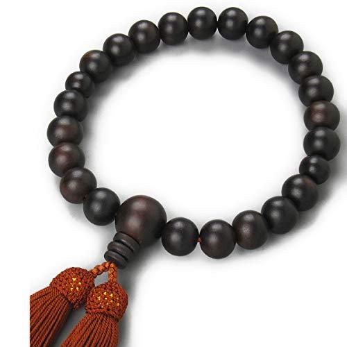 念珠堂 日本製 数珠 男性用 縞黒檀 22玉 <数珠袋付き> 国産 手作り 念珠 (房色 茶) すべての宗派でお使い頂けます 【創業80余年 老舗数珠メーカー】