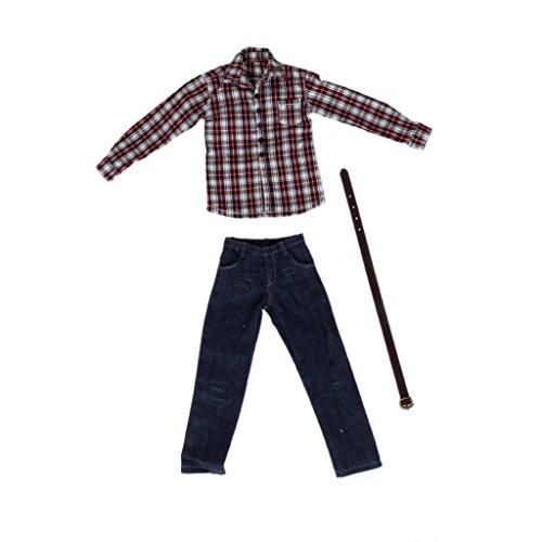 b3df2f76094f4  ノーブランド 品 1 6スケール 12インチアクションフィギュアに 長袖 シャツ ジーンズ 衣装 アクションフィギュア服 赤