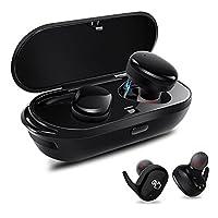Bluetoothイヤホン ミニイヤホン ワイヤレスBluetoothヘッドセットステレオ 防音型ヘッドフォン 450mahバッテリー充電ケース付き Bluetooth 4.1 片耳両耳とも対応快適な装着感 スポーツと音楽 長い時間を使うことができます(ブラック) BLUE-EAR
