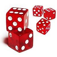 (5pcs, 19mm Red (Square edges)) - 19mm D6 Six-Sided Gaming Transparent Casino Dice (3 15pcs)