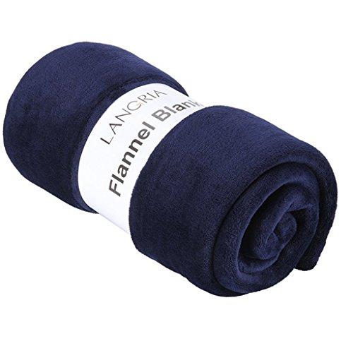 LANGRIA 毛布 シングル フランネル マイクロファイバー ベッド ソファー用 ひざ掛 昼寝に対応 冷房対策 丸洗い可 ふんわり 無地 150 cm x 200 cm (ネイビーブルー)