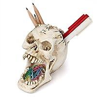 Chris.W 頭蓋骨鉛筆ホルダー ペンカップピン ペーパークリップ オーガナイザー スカル 置物 スケルトン像 怖いハロウィーンのデコレーションに