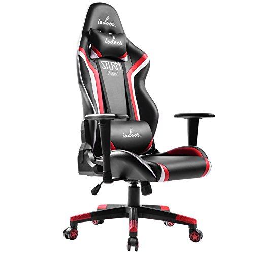 IODOOS ゲーミングチェア gaming chair 無段階約180度リクライニング パソコンチェア 昼寝チェア 高級PUレザー(レッド)F-28AAA