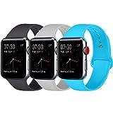 Vancle コンパチブル Apple Watch バンド 38mm 42mm,スポーツバンド ソフトシリコン iwatch バンド 44mm,Apple Watch Series 4/3/2/1に対応 (42mm/44mm-M/L, ブラック+グレー+ティール)
