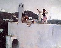 手描き-キャンバスの油絵 - Capri John Singer Sargent 芸術 作品 洋画 ウォールアートデコレーション -サイズ13