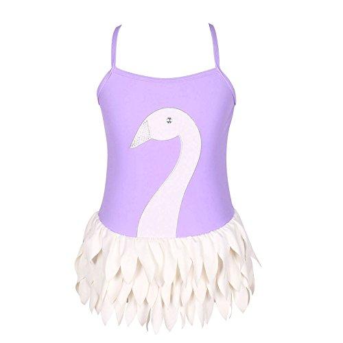 3-12歳女の子の可調節一体式のバレエ白鳥水着(FBA) (4/参照Qyqkflyサイズ表, 紫)