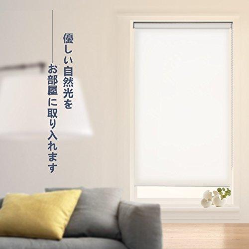 ロールスクリーン 非遮光 アイボリー 幅80×丈220cm ロールカーテン 透過性 間仕切り 目隠し パーテーション 衝立 チェーン式 簡単取付け シンプル 既成品