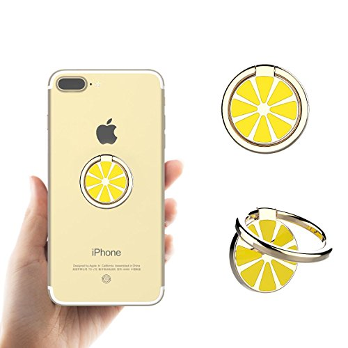 Aokeou スマホ リング 携帯リング ホールドリング スタンド機能 落下防止 車載ホルダー 360回転 iPhone/iPad/iPod/Galaxy/Xperia/Android各種対応 (レモン、ゴールド)