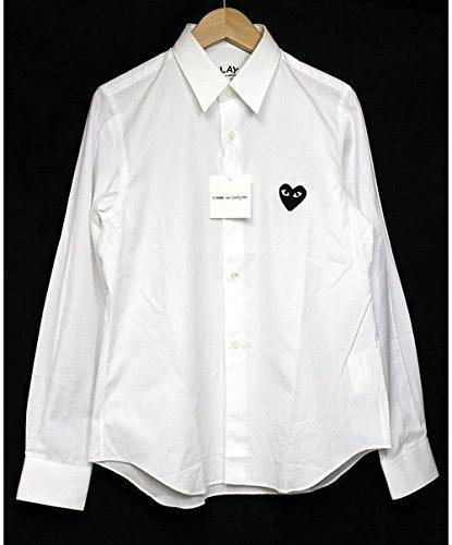 COMME des GARCONS PLAY  コム デ ギャルソン レディース シャツ ブラックハート (ホワイト Sサイズ ハートマーク4cm)