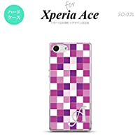 SO-02L Xperia Ace スマホケース カバー スクエア 紫 【対応機種:Xperia Ace SO-02L】【アルファベット [W]】
