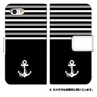 スマホケース 手帳型 iphone 5s ケース 0050-A. ワンポイント碇ブラック アイフォン 5s ケース 手帳型 [iPhone5s] アイフォン5s スマホゴ