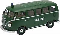 VW t1バス、matt-darkグリーン、警察、1962,モデルカー, Ready - made , Welly 1: 24