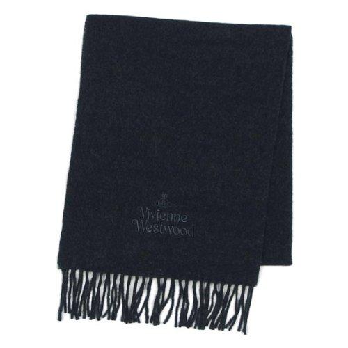 (ヴィヴィアンウエストウッド) Vivienne Westwood シンプル ロゴ刺繍 マフラー ダークグレー [並行輸入品]