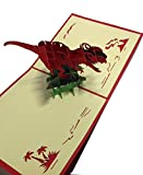 kz39brand 立体 カード ポップアップ メッセージカード 封筒 厚紙レターケース 付き 【grateful】 (恐竜)