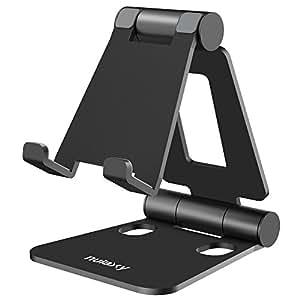 Nulaxy スマホスタンド 折り畳み式 270°角度調整可能 iPad/タブレット/iPhone スタンド Nintendo Switchにも対応 黒