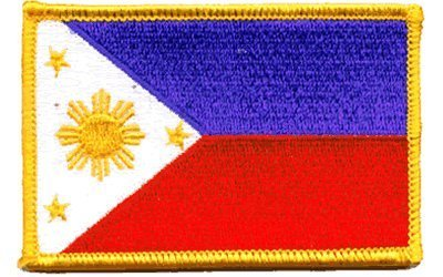 """The Flag of PHILIPPINES PATCH, Superior Quality Iron-On / Saw-On Embroidered Patch - Each one is individually carded and sealed in a professional retail package - 3.5"""" x 2.25"""" Inches - Made in the USA"""