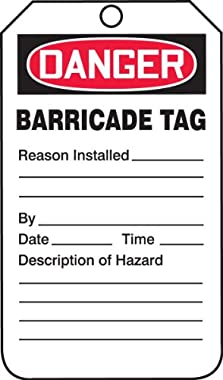 Accuform Signs TAB104PTP Barricade Status Tag, Legend DANGER BARRICADE TAG, 5.75 Length x 3.25 Width x 0.015 Thickness, RP-Plastic, Red/Black on White (Pack of 25) by Accuform