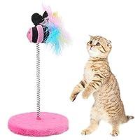 Okuguy キャッチジャンプを再生ペットのためのミニキャットインタラクティブ玩具春の魚のおもちゃ(ピンク)
