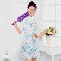 クッキングキッチンエプロンホームワークタバード 家庭用キッチンPVC防水耐油エプロン女性を調理するためのシンプルで素敵な大人のオーバーオールのキッチン韓国語版 (色 : White)