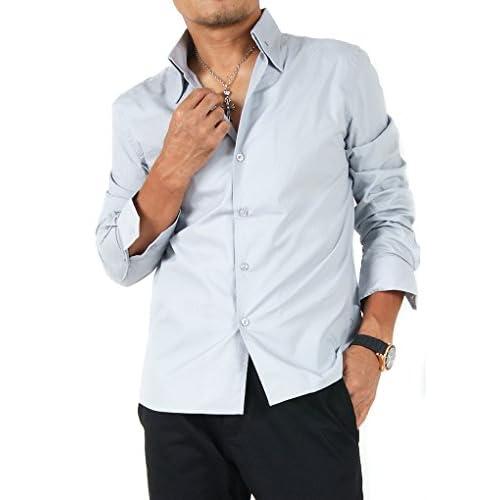 【サンタリート】 Santareet イタリアンカラー ブロード カラー シャツ M ライトグレー