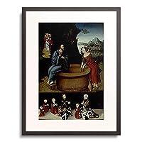 ルーカス・クラナッハ(父) Lucas Cranach der Ältere 「Christ and the Samaritan woman at the well. Unten: Familienbild des Stifters.」 額装アート作品