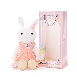 人気の Metoo(ミートゥー) ぬいぐるみ ウサギ おもちゃ かわいい 16 インチ+ギフトバッグ (ピンクのスカート)