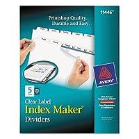 インデックスメーカークリアラベルディバイダー、5-tab、文字、ホワイト、25セット、合計150ST , Sold as 1カートン