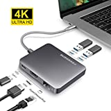 USB-Cハブ、HDMIポート付きアルミニウムタイプCアダプタ、ギガビットイーサネットポート、USB C電源供給、2つのUSB 3.0ポート、USB Cデバイスに対応
