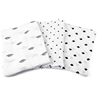 Swaddle Blankets - Unisex Large 47 x 47 - 100% Soft Breathable Muslin Cotton Receiving Wrap - Classic Black & White Designs - Burp Cloth For Babies - Perfect Baby Shower Gift For Boys & Girls by Jomolly