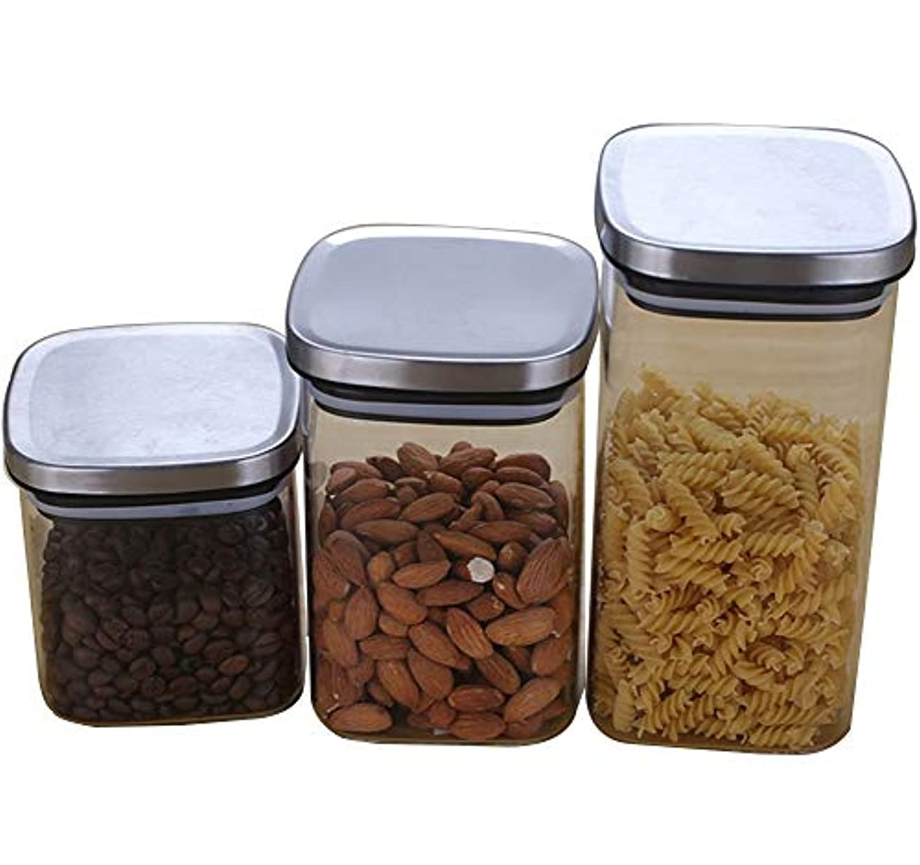 珍味正当な降臨3つの透明ガラスの貯蔵瓶パックは、ドライフルーツ/キャンディ/お茶の貯蔵瓶を密閉タンク