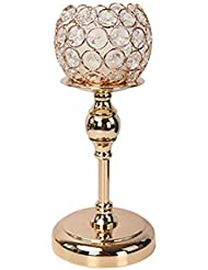 Vosareaメタルキャンドルホルダークリスタル燭台ロードリード花瓶(黄金)