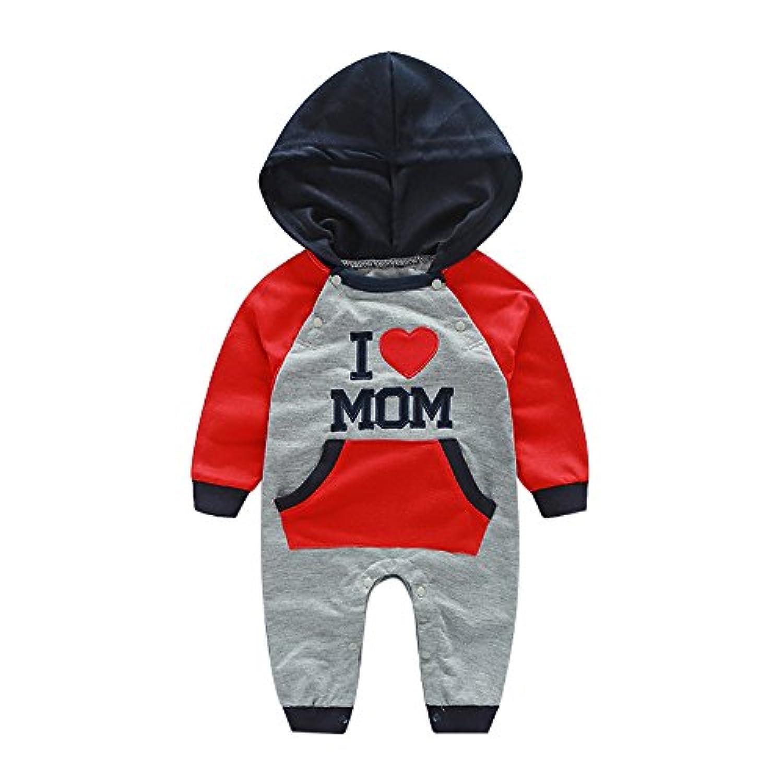 (プタス) Putars秋と冬の赤ちゃんジャンプスーツグレー楽しみ英語の刺繍フード付きクロールスーツ旅行衣装子供 6ヶ月?24ヶ月