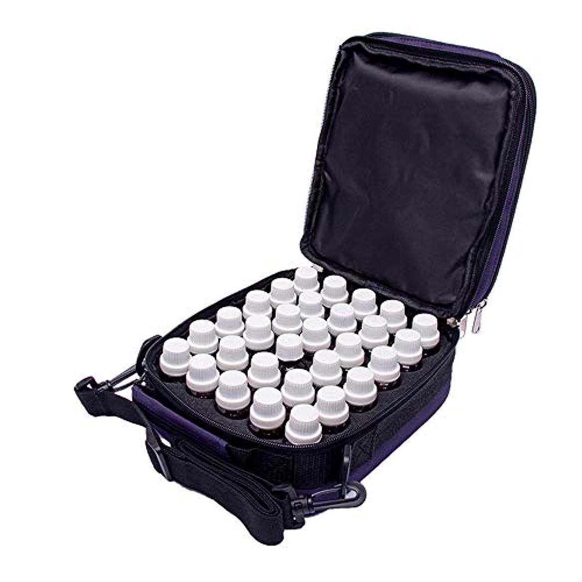 密度探偵デッドアロマセラピー収納ボックス オイル拡散ハンドバッグスーツケース5-10 MLのバイアル瓶ハード外部記憶袋42本のボトル エッセンシャルオイル収納ボックス (色 : 紫の, サイズ : 18X13X21CM)