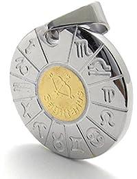 [テメゴ ジュエリー]TEMEGO Jewelry メンズステンレススチールペンダントゴシックゾディアック射手座のネックレス、ゴールデンシルバー[インポート]