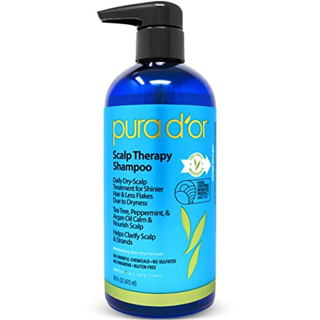 貸す細部偽Pura D'or Premium Organic Solution - Scalp Therapy Shampoo - 16 fl oz (473 ml) プラドール スカルプセラピー シャンプー
