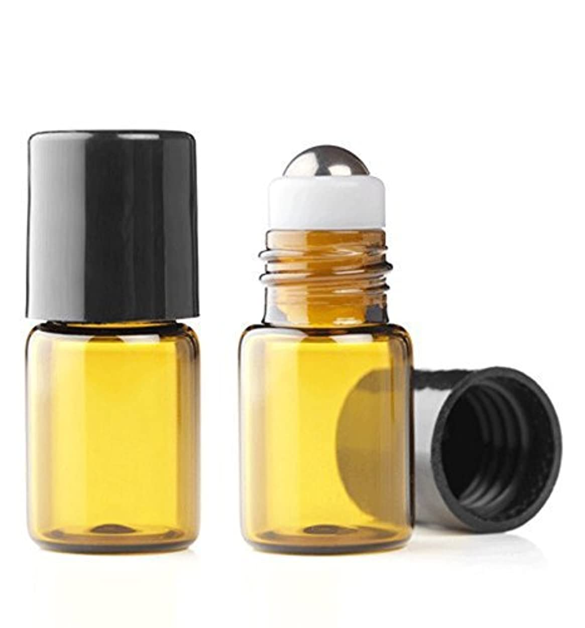 Grand Parfums Empty 2ml Amber Glass Micro Mini Rollon Dram Glass Bottles with Metal Roller Balls - Refillable...