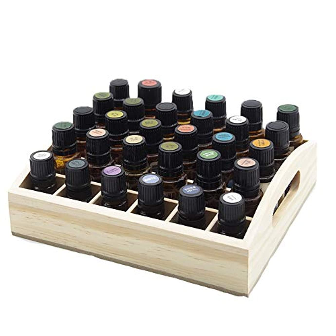 涙密反応する30スロット木製エッセンシャルオイルストレージホルダーは、30本のボトルを保持します アロマセラピー製品 (色 : Natural, サイズ : 21.5X18.3X3.5CM)