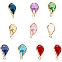 EXCEART Jewelry Glass Gemstone Charms Colorful Bracelet Necklace Drop Pendants DIY Earring Dangle Findings 10pcs (Mixed Colorシ