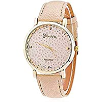 Women's Geneva Faux Leather Band Elegant Flower Casual Analog Quartz Wrist Watch-Beige
