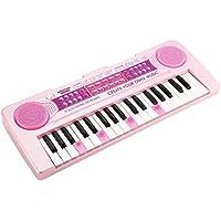 充電する 電子ミニキーボード JINRUCHE 37鍵盤 キッズピアノ 多機能 音楽キーボード 電子オルガン キーボード おもちゃ 子供用 子供ギフト (ピンク)