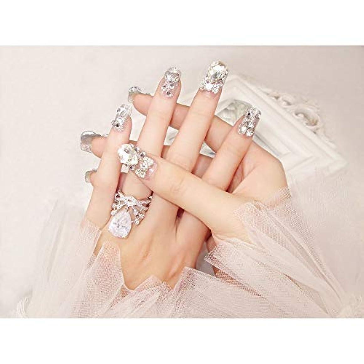 カニ八百屋ハンサムLVUITTON 完成した偽の釘24ピース箱入り花嫁シャイニー偽の爪の宝石ダイヤモンドの宝石ブライダルネイルステッカー (色 : 24 pieces)