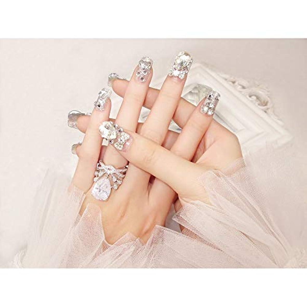 割り当ていらいらさせるゆりBOBIDYEE 完成した偽の釘24ピース箱入り花嫁シャイニー偽の爪の宝石ダイヤモンドの宝石ブライダルネイルステッカー (色 : 24 pieces)