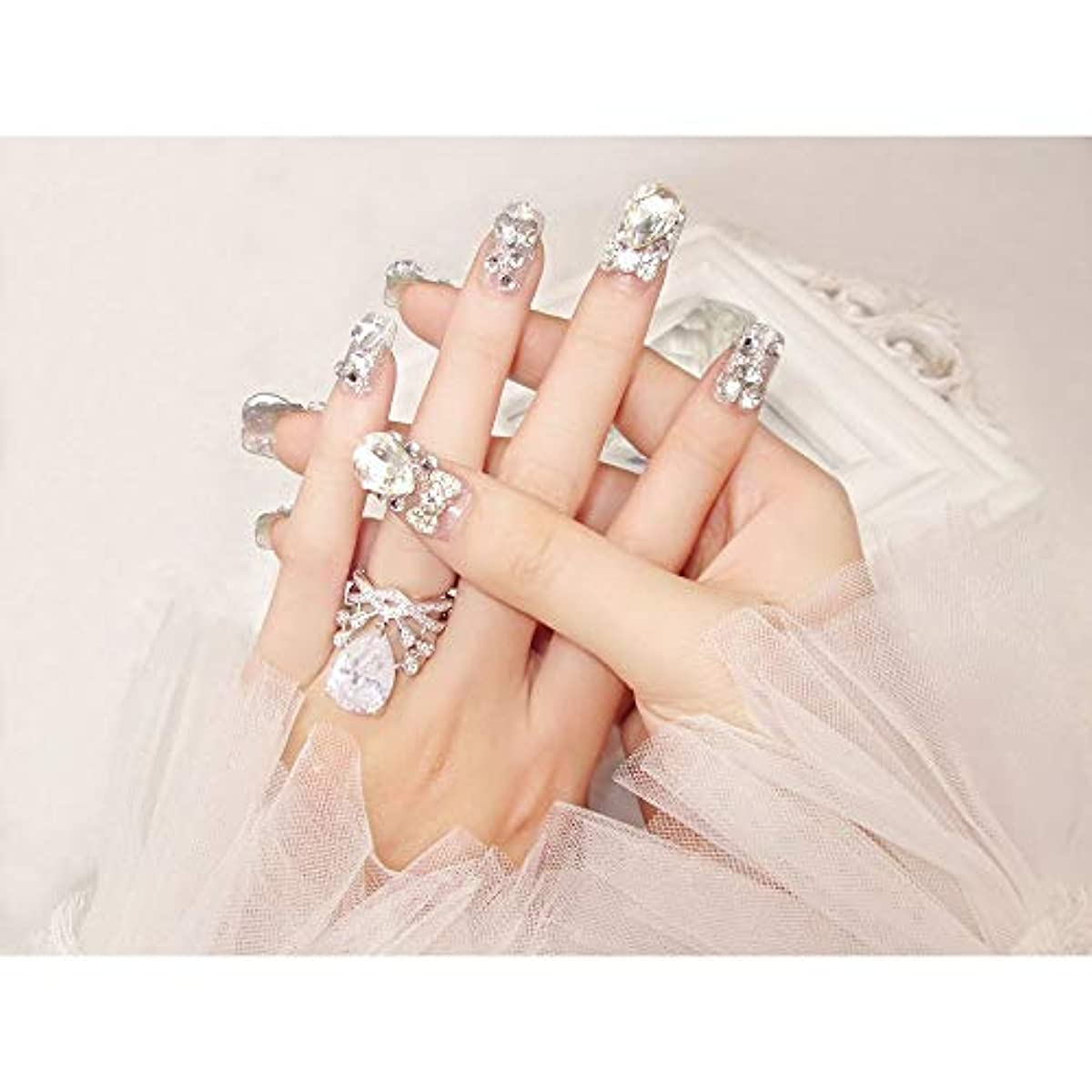 現象クスコホイットニーLVUITTON 完成した偽の釘24ピース箱入り花嫁シャイニー偽の爪の宝石ダイヤモンドの宝石ブライダルネイルステッカー (色 : 24 pieces)
