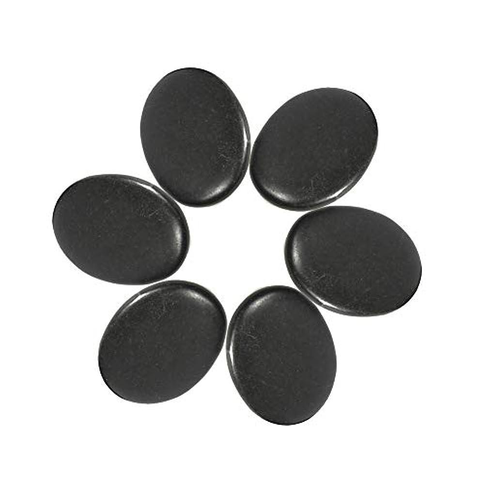 6個入り マッサージ石 マッサージストーンセット天然熔岩 玄武岩ホットロックスストーンズブラック 60 x 80mm