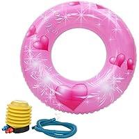 C-Princess 子供用 浮き輪 浮輪 うきわ フロート スイムリング ボディリング 胴回り ベビー 赤ちゃん 女の子 水泳 水遊び プール ハート柄 可愛い ポンプ付き 80cm