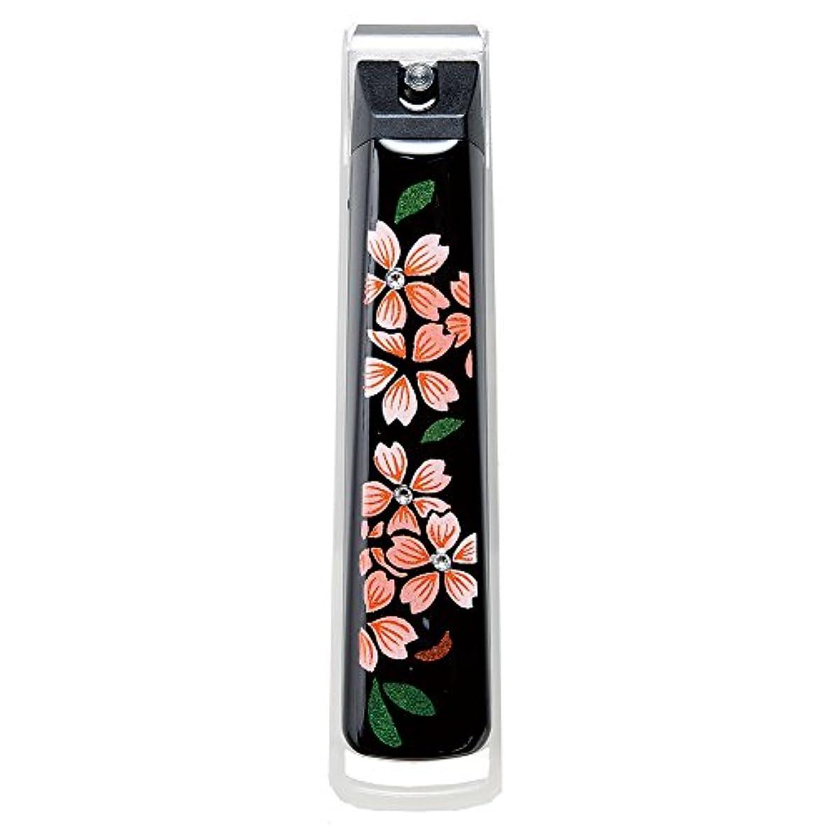 固体顕微鏡ハンサムナガオ 日本製 蒔絵 爪切り 桐箱入 スワロフスキー桜 MN-5