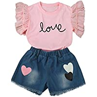 DaySeventh Girls' Clothes Set Letter Tops+Demin Shorts Pants Cute Outfit
