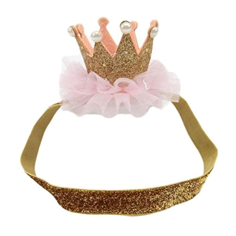 leoy88赤ちゃんパーティーインペリアルクラウンヘアバンド伸縮性花Headwear (ゴールド)