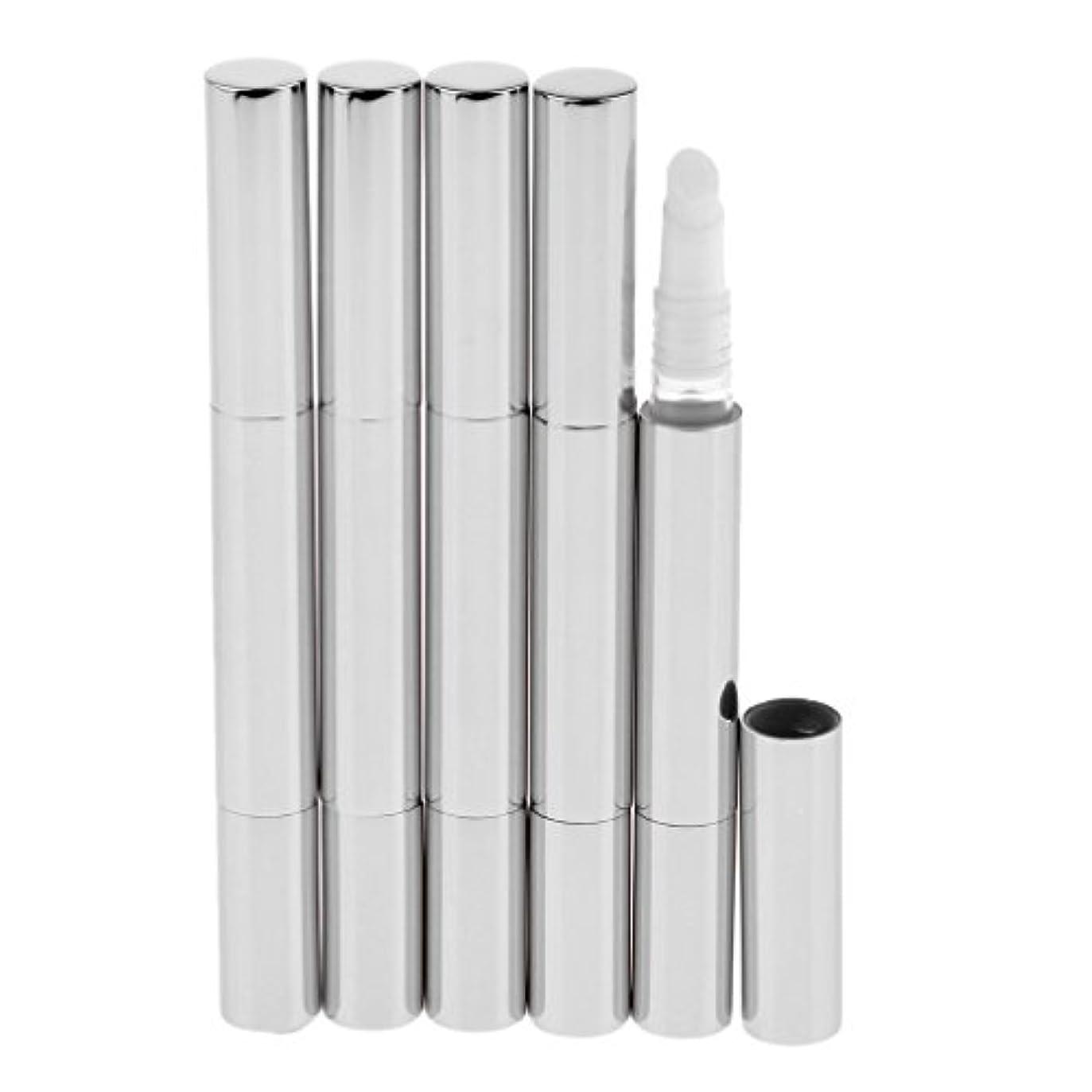 どうしたのビュッフェ乱すBaosity 5個 メイクアップ ツイストペン ブラシヘッド付き 3ml リップグロス まつげチューブ コスメ用詰替え容器 DIY 便利 5色選べる - 銀