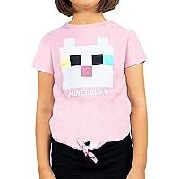 Vanilla Underground Minecraft Kitty Front Tie Girl's Pink T-Shirt Gamer Tee